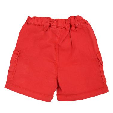 Къси панталонки с джобчета в наситено червено със състаряващ ефект