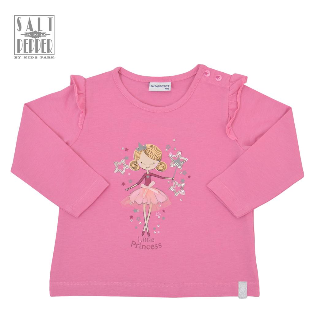 Блузка ''Salt and Pepper'' с къдрички и принцеса розова