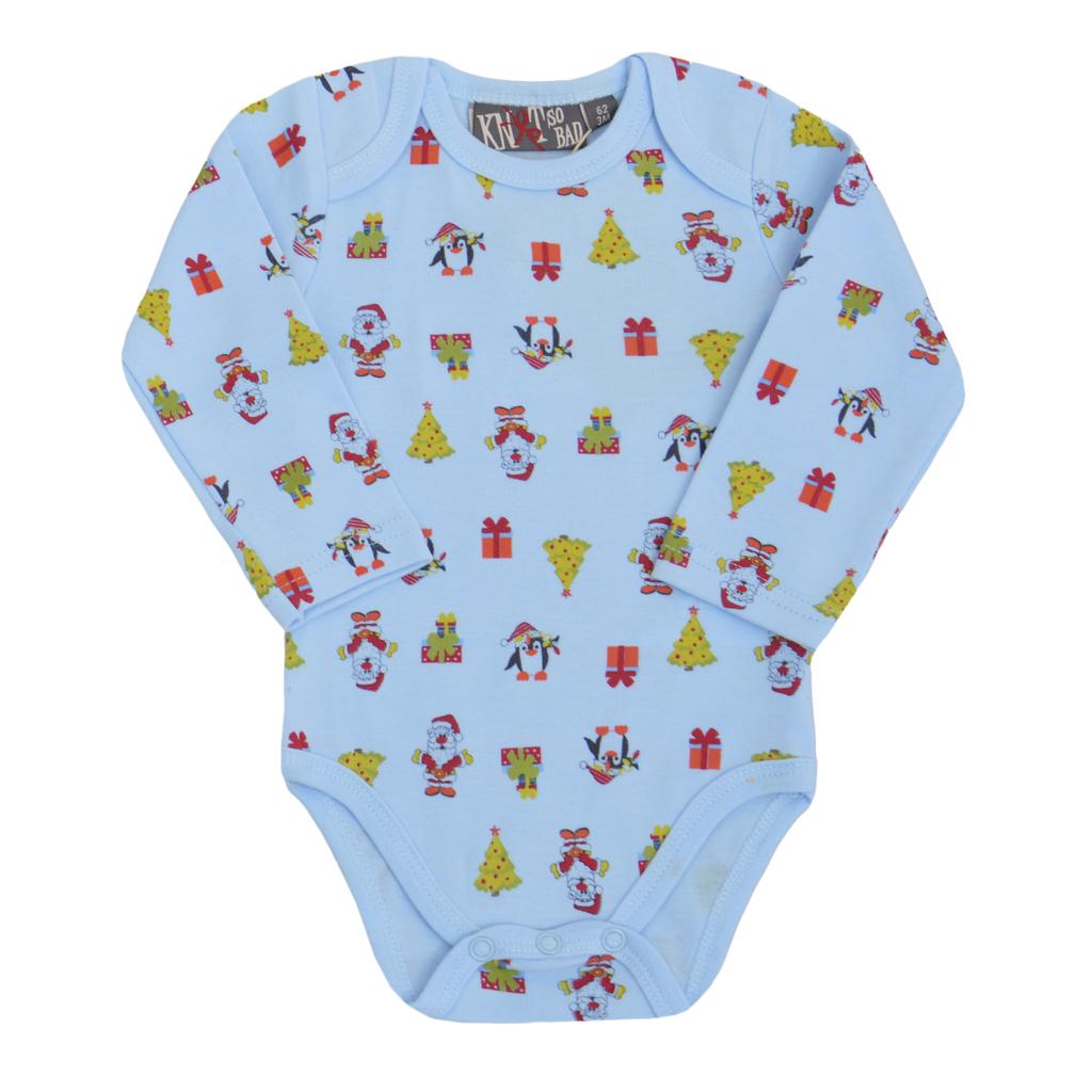 Комплект от  2 броя коледно бебешко боди за момче светло син