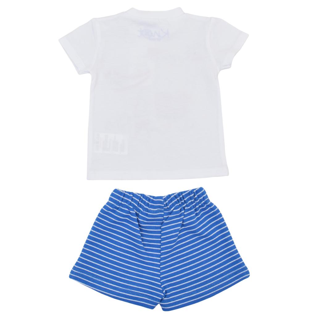 Комплект с блузка къс ръкав и панталонки на райета  син