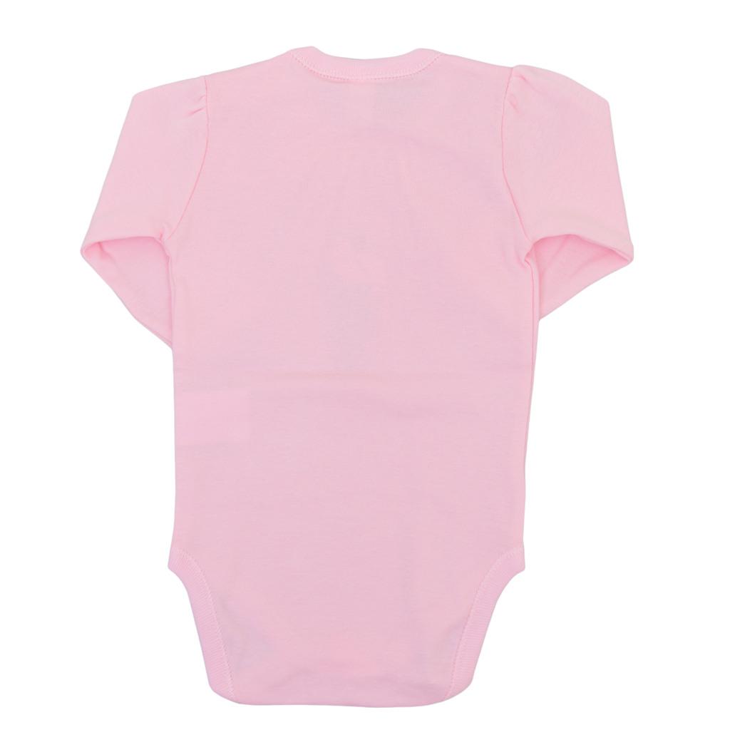 Боди с буфан ръкав и копчета при крачетата бледо розово