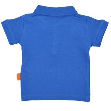 Едноцветна тениска лакоста с контрастни копчета синя