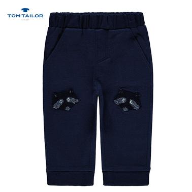 Меко долнище с енот на коленете от Tom Tailor тъмно синьо