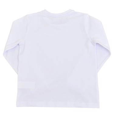 Изчистена детска блуза с дълги ръкави бяла