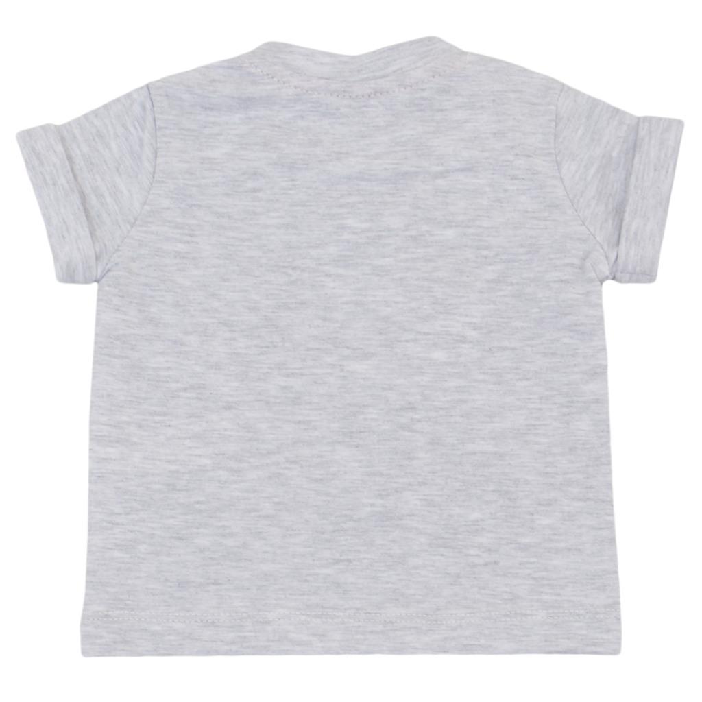 Летен комплект с тениска и къси панталонки с чудовища светъл меланж