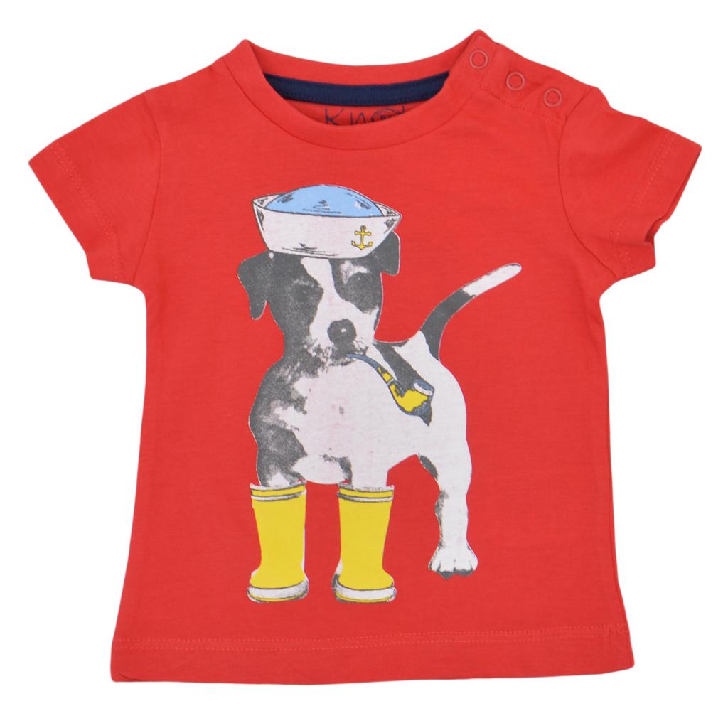 Комплект от 2 броя бебешки блузи с кучета червен