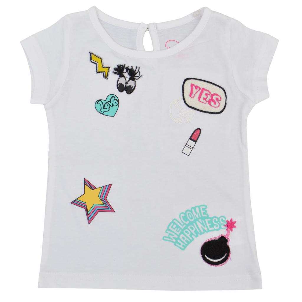 Готина детска тениска с апликации бяла