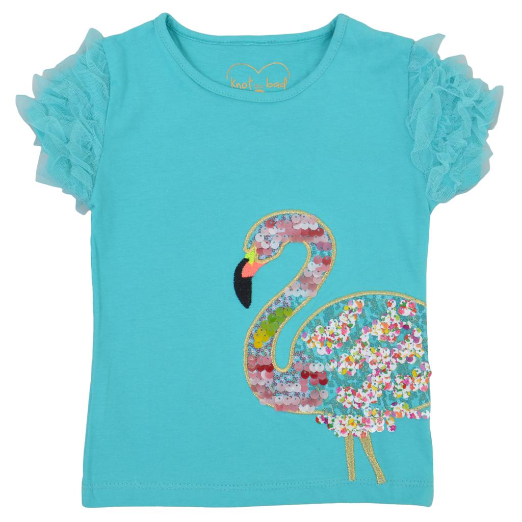 Тениска с тюл и фламинго от пайети зелена