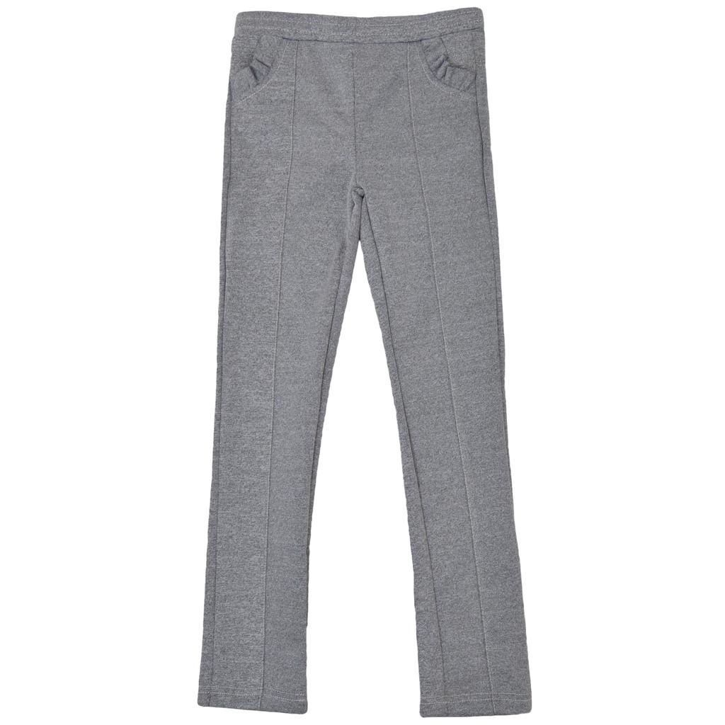 Модерен клин-панталон с къдрички и шев на крачолите сив меланж