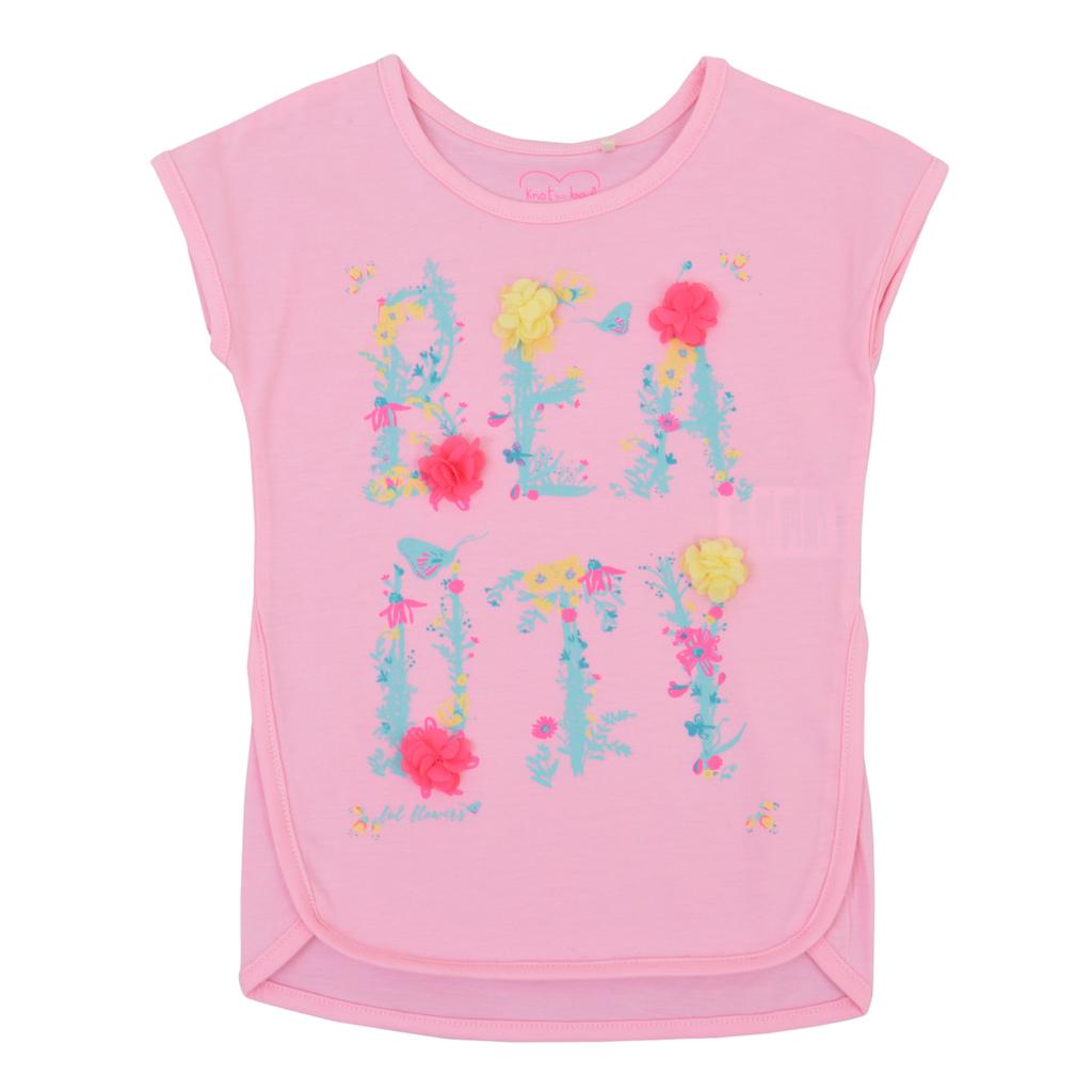 Тениска с издължена кройка и 3D цветчета от тюл в розово
