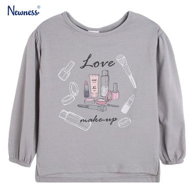 Блуза Newness с козметични аксесоари сива