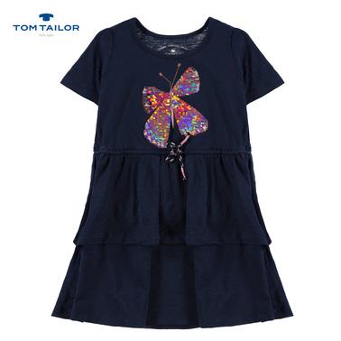 Рокля трапец Tom Tailor с пеперуда от двустранни пайети тъмно синя