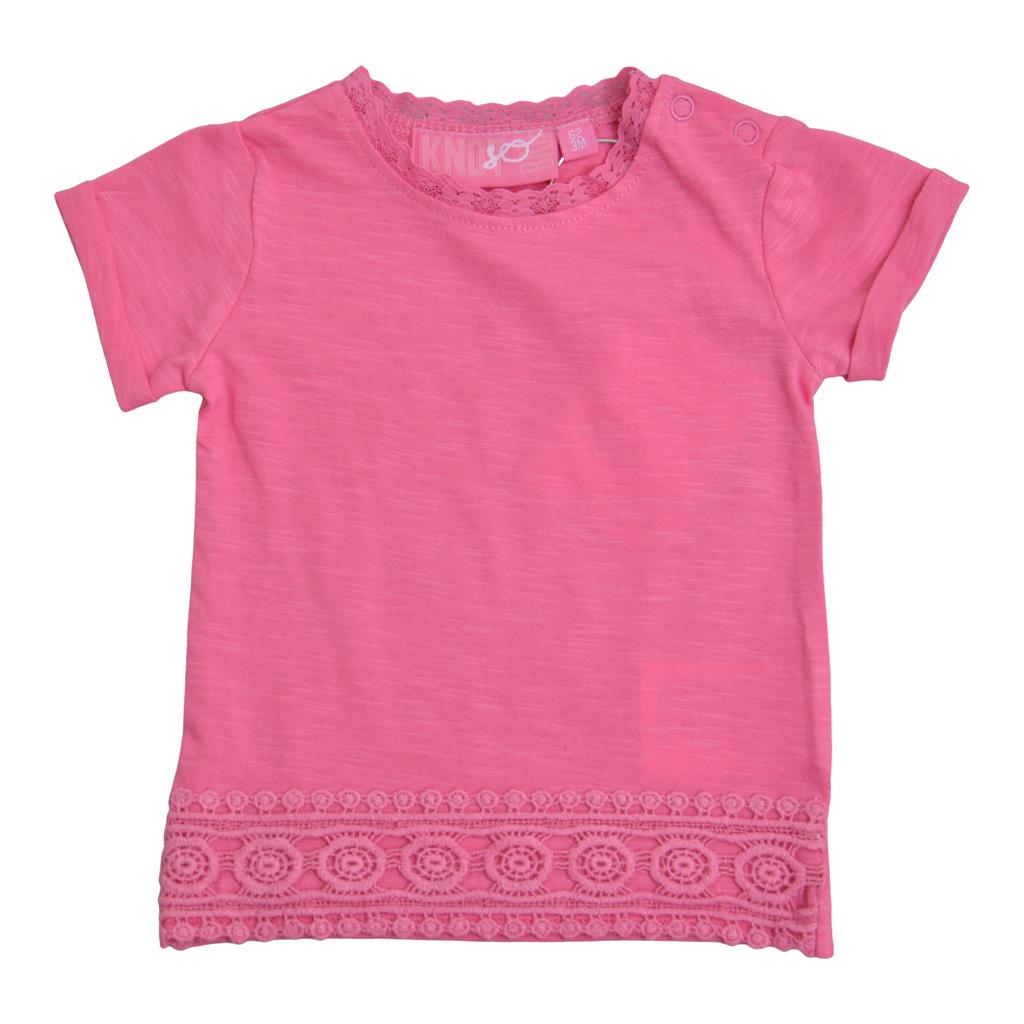 Блуза с къси ръкави и дантела розова