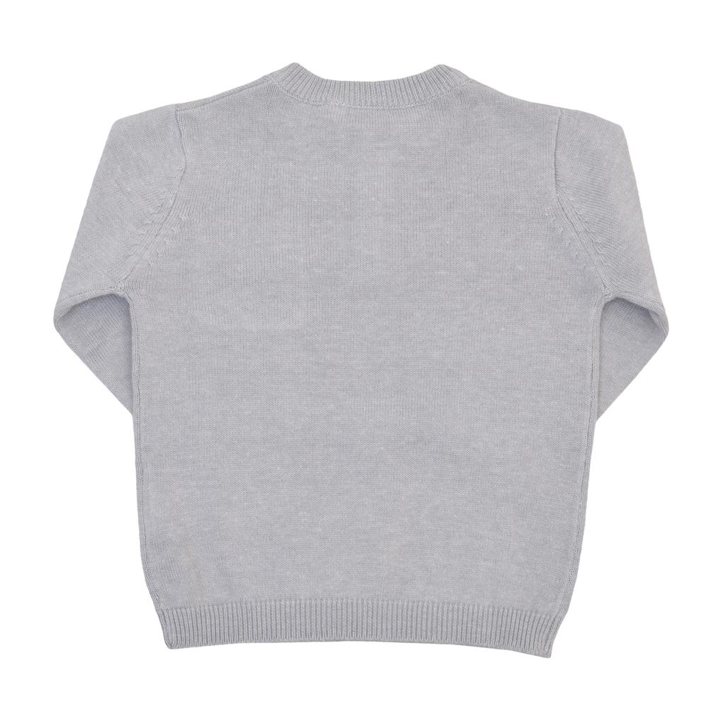 Бебешка плетена блуза с копчета и джоб сива