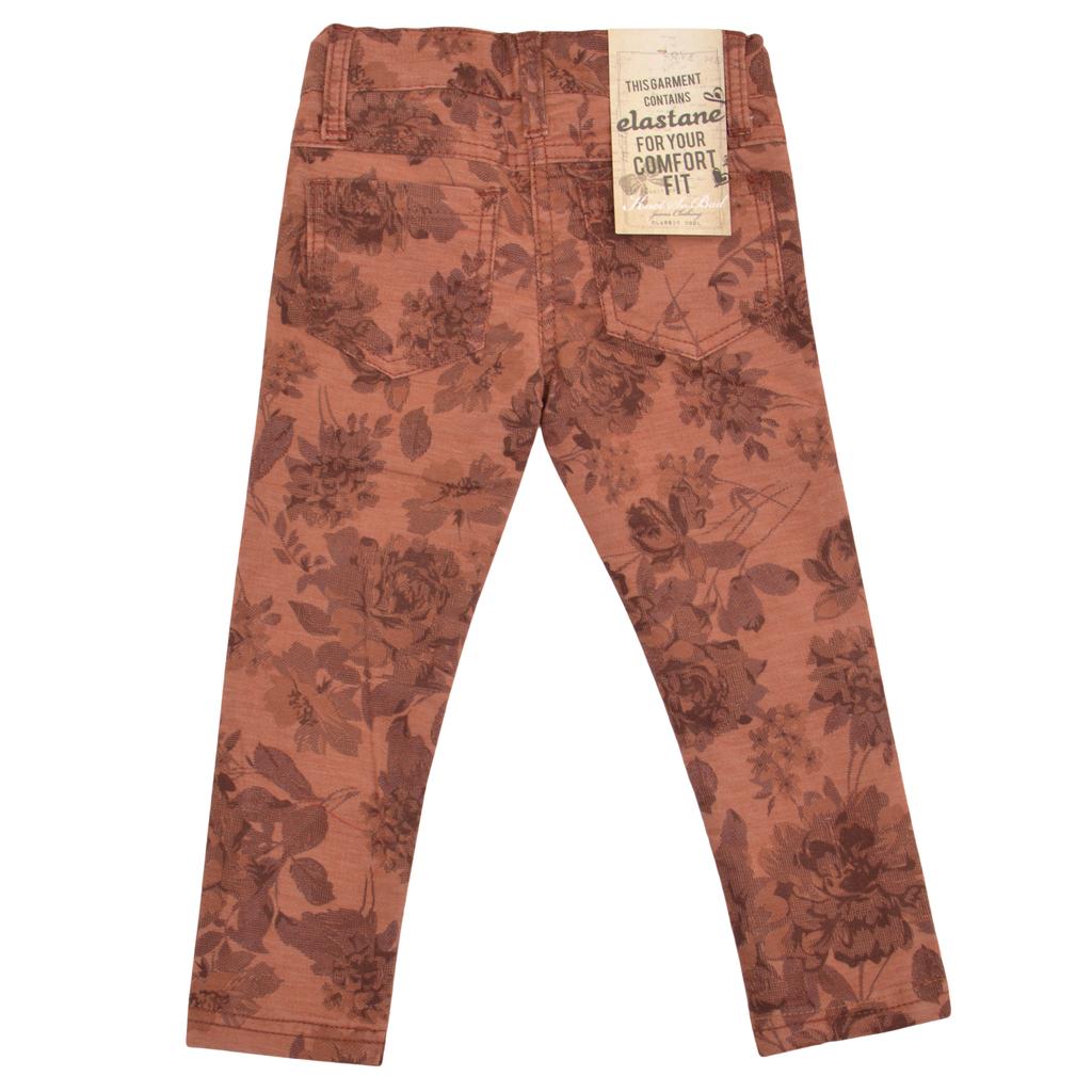 Детски панталон украсен с есенни цветя кафяв