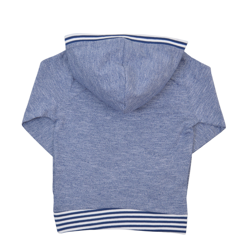 Спортна блуза с качулка и щампа на сандвич син