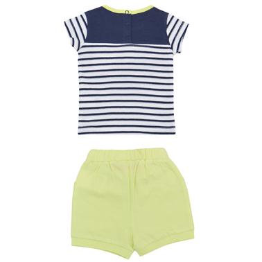 Бебешки летен комплект с блуза в райе и къси панталонки с панделка тъмно син