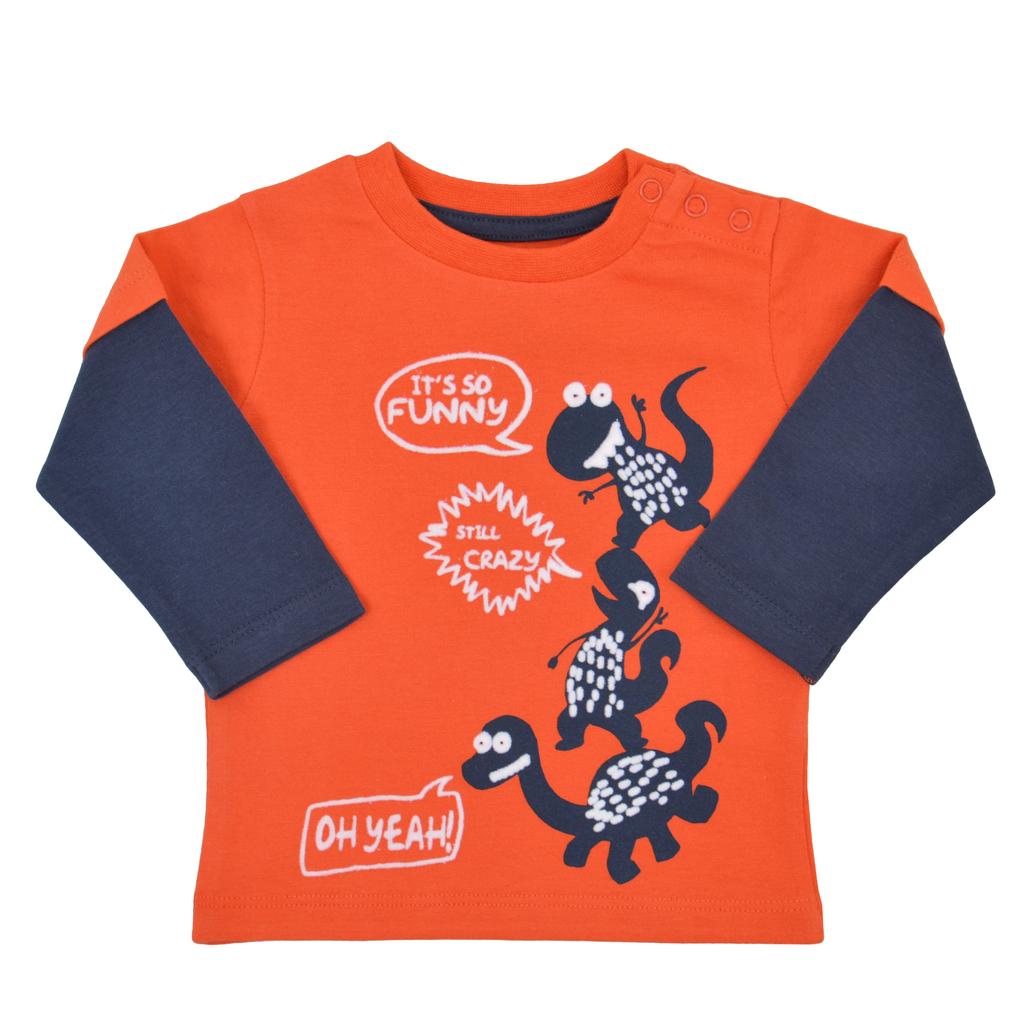 Блузка с двоен ръкав и щури динозаври оранжева