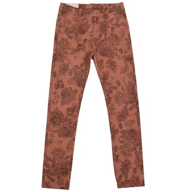 Детски панталон - слим с есенни цветя кафяв