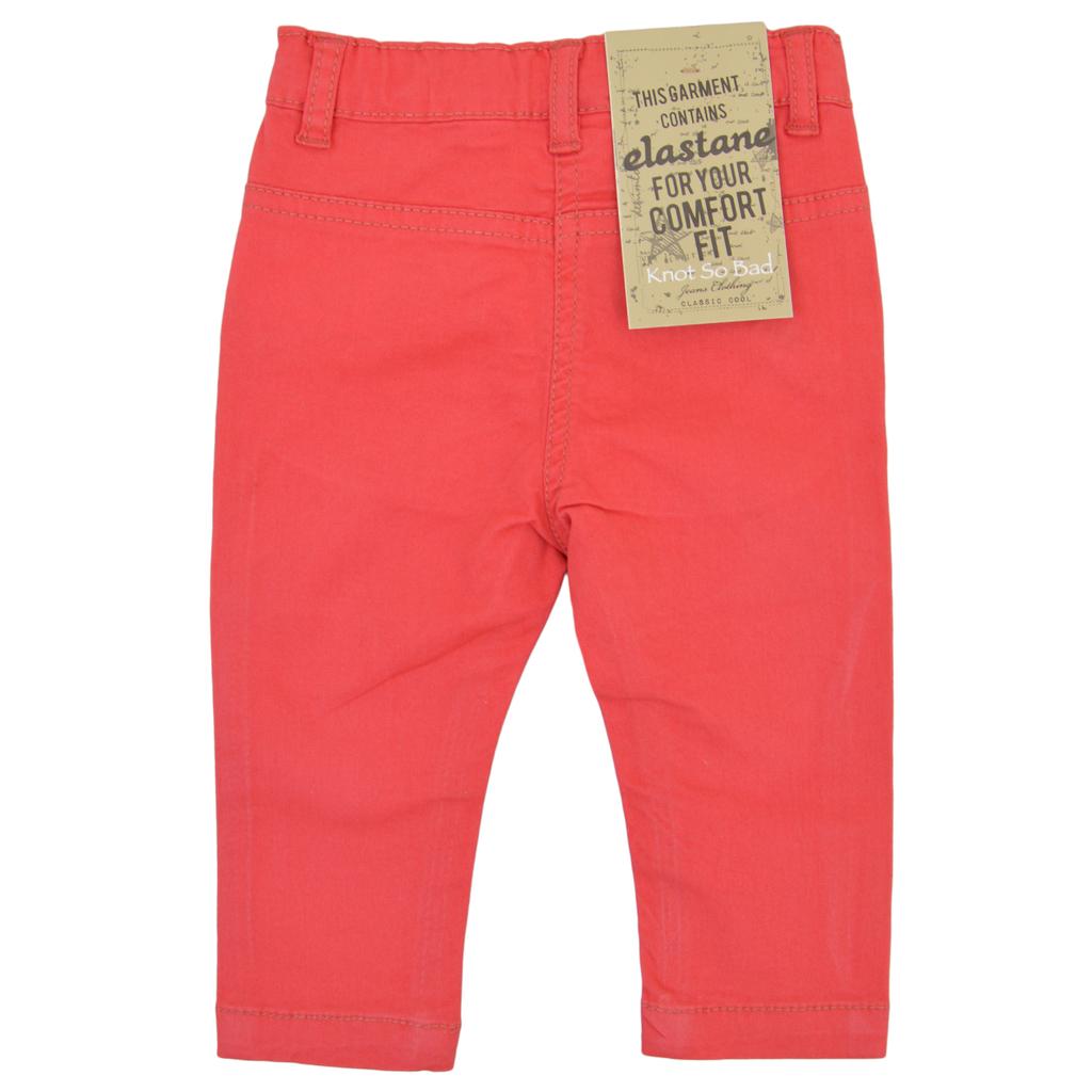 Елегантен панталон с къдрички на джобчетата в червено