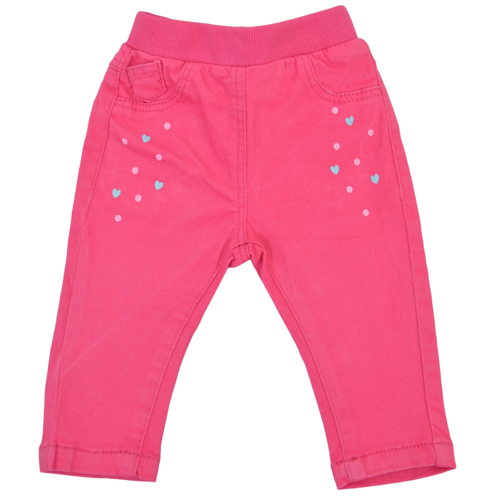 Панталон с ластик и щампа на точки и сърца в циклама