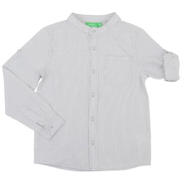 Риза на тесни райета в светло сиво с ръкав 2в1 и столче яка