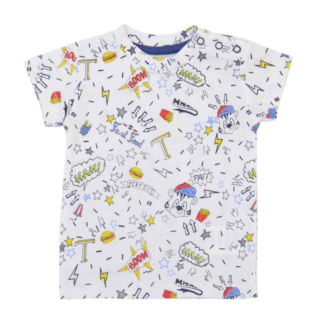 Трикотажна блуза комикс с къс ръкав бяла