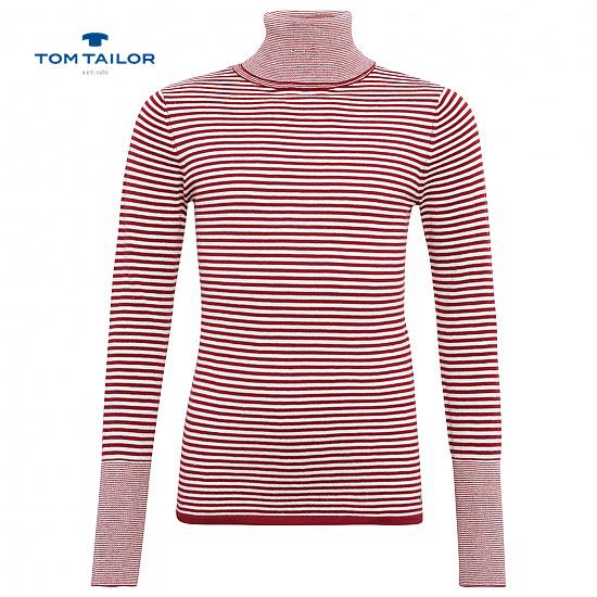 Меко райрано поло за момичета Tom Tailor червено
