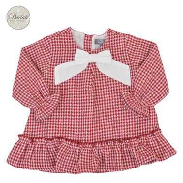 Бебешка пепитена рокля с панделка и волан червена