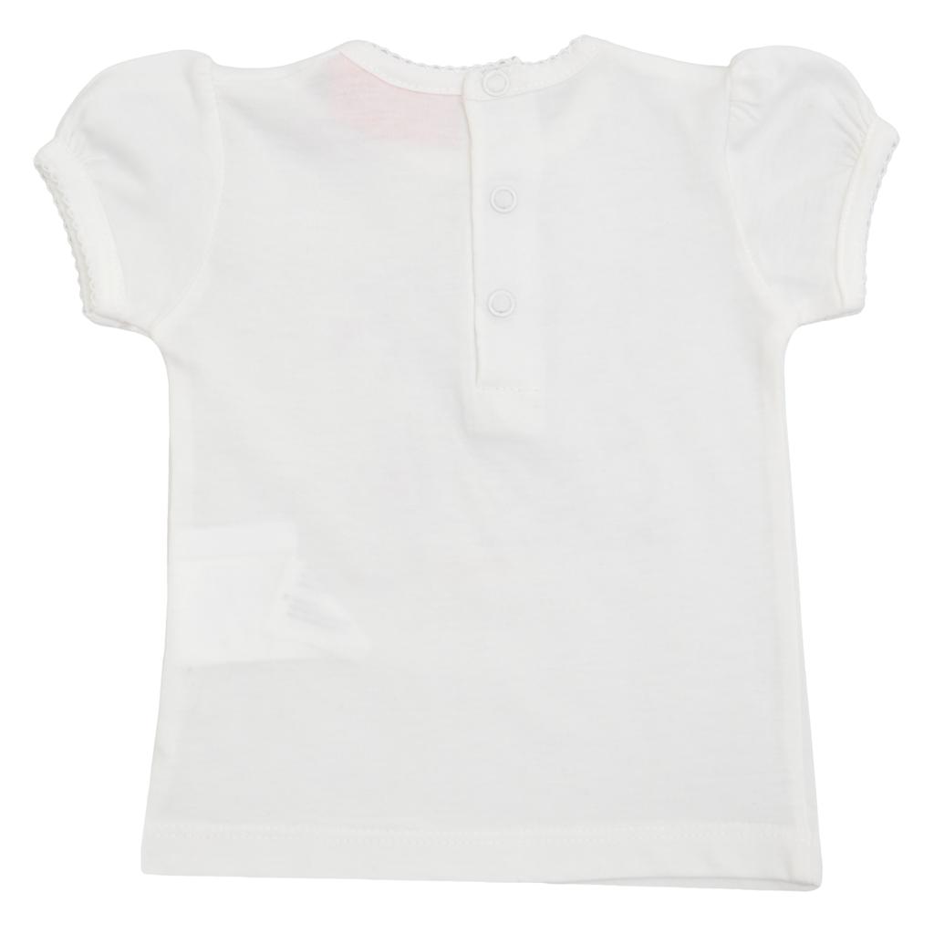 Блуза с щампа с момиче с котенце бяла