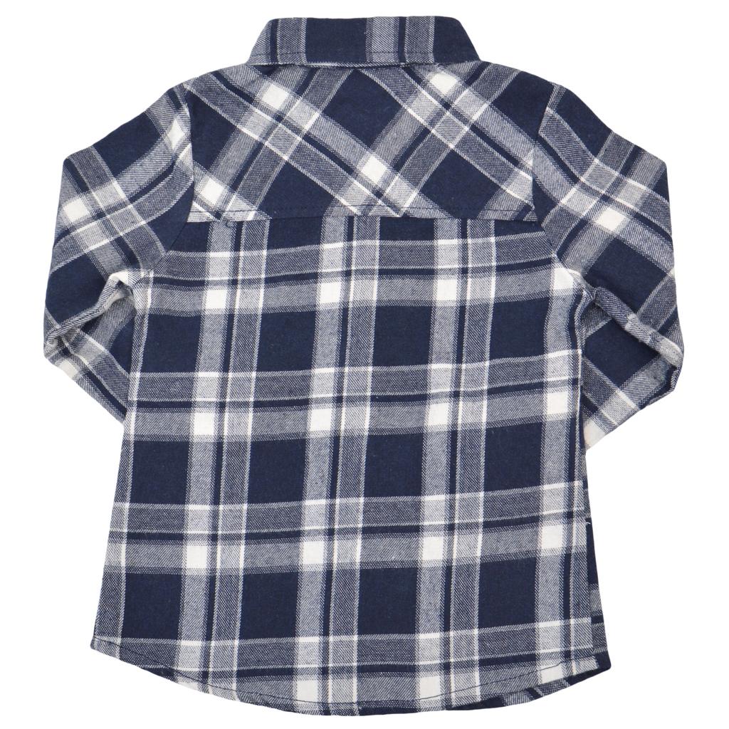 Детска карирана риза с къдри за момиче тъмно синя