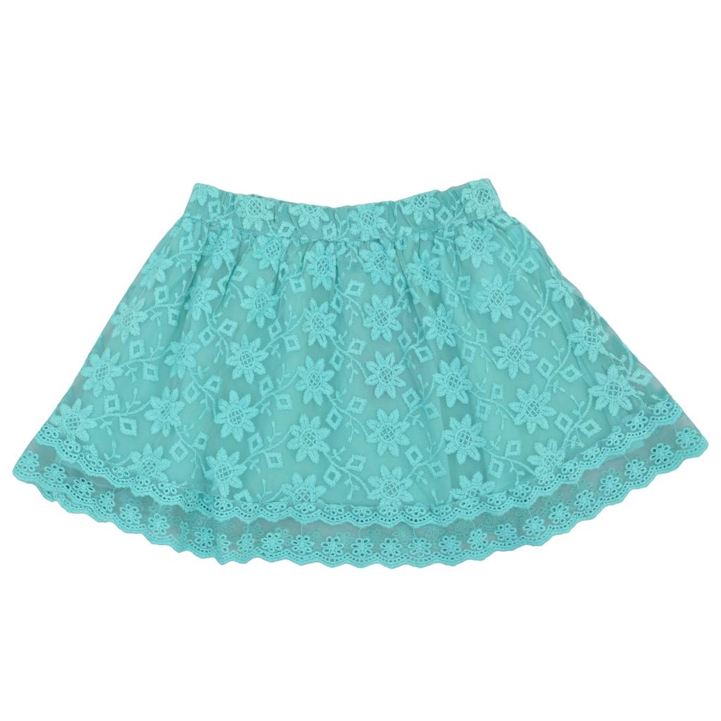 Детска пола с дантели и ластик зелена