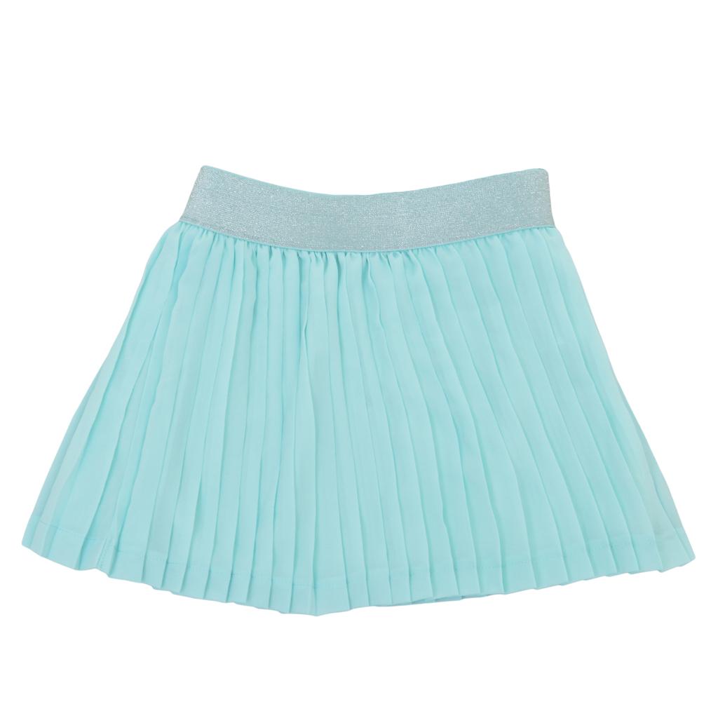Плисирана пола с ластик с ламени нишки резеда