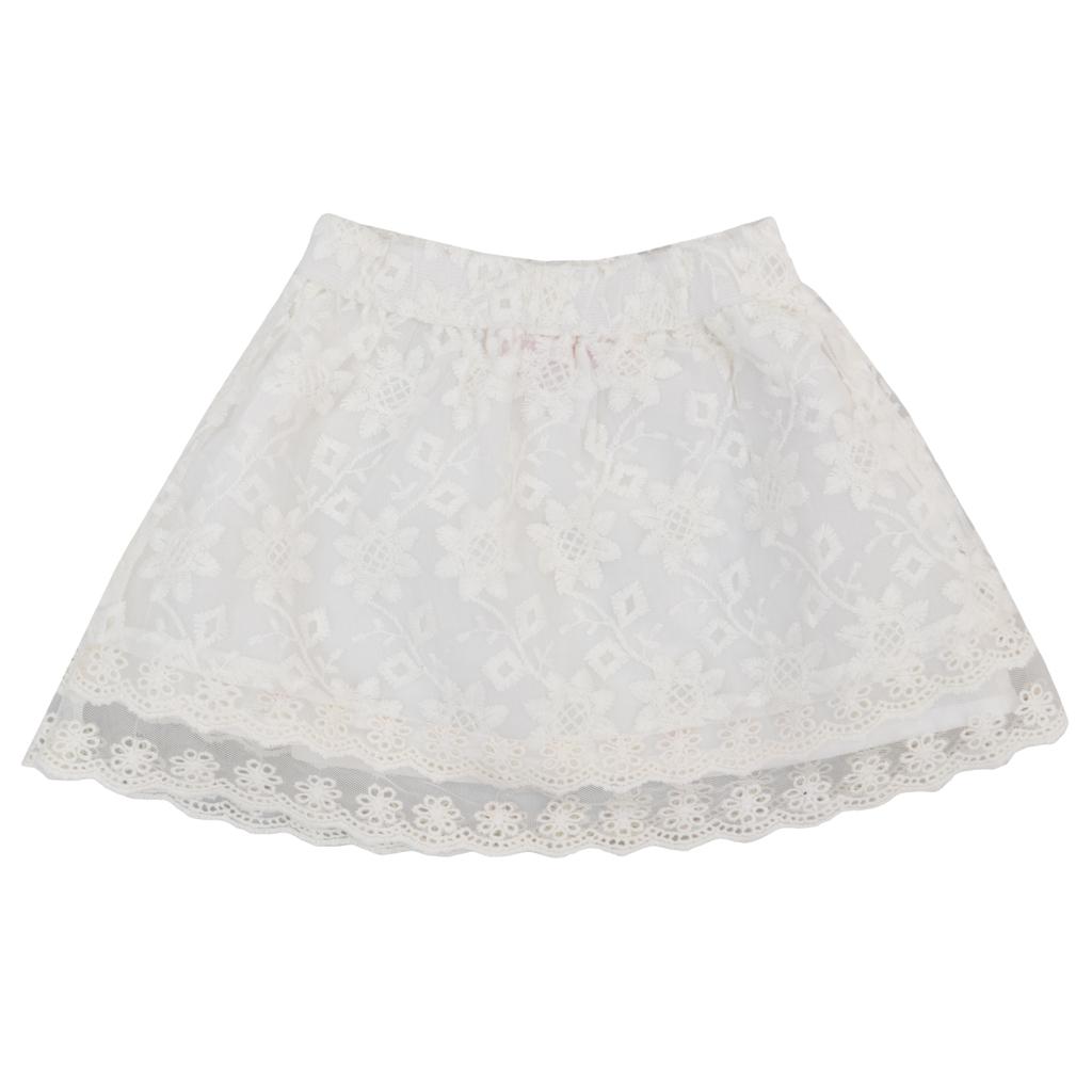 Детска пола с дантела бяла
