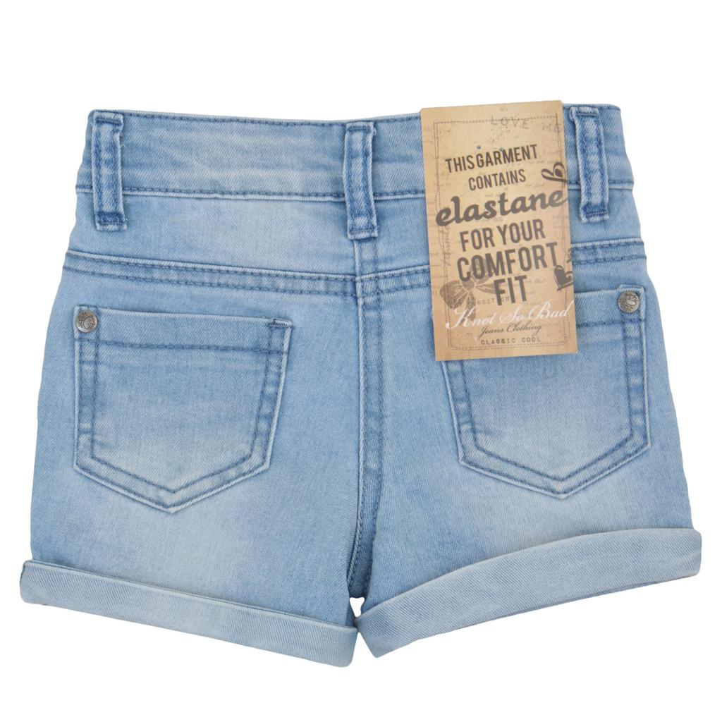 Къси дънкови панталонки с избродирани цветя сини