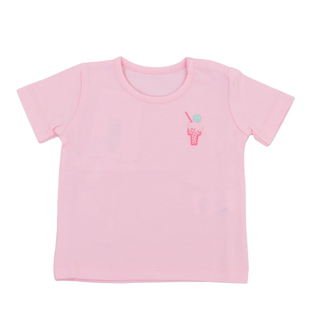 Тениска с бродиран сладолед и копчета розова
