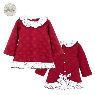 Релефна рокля на точки Dadati с волани и панделка червена