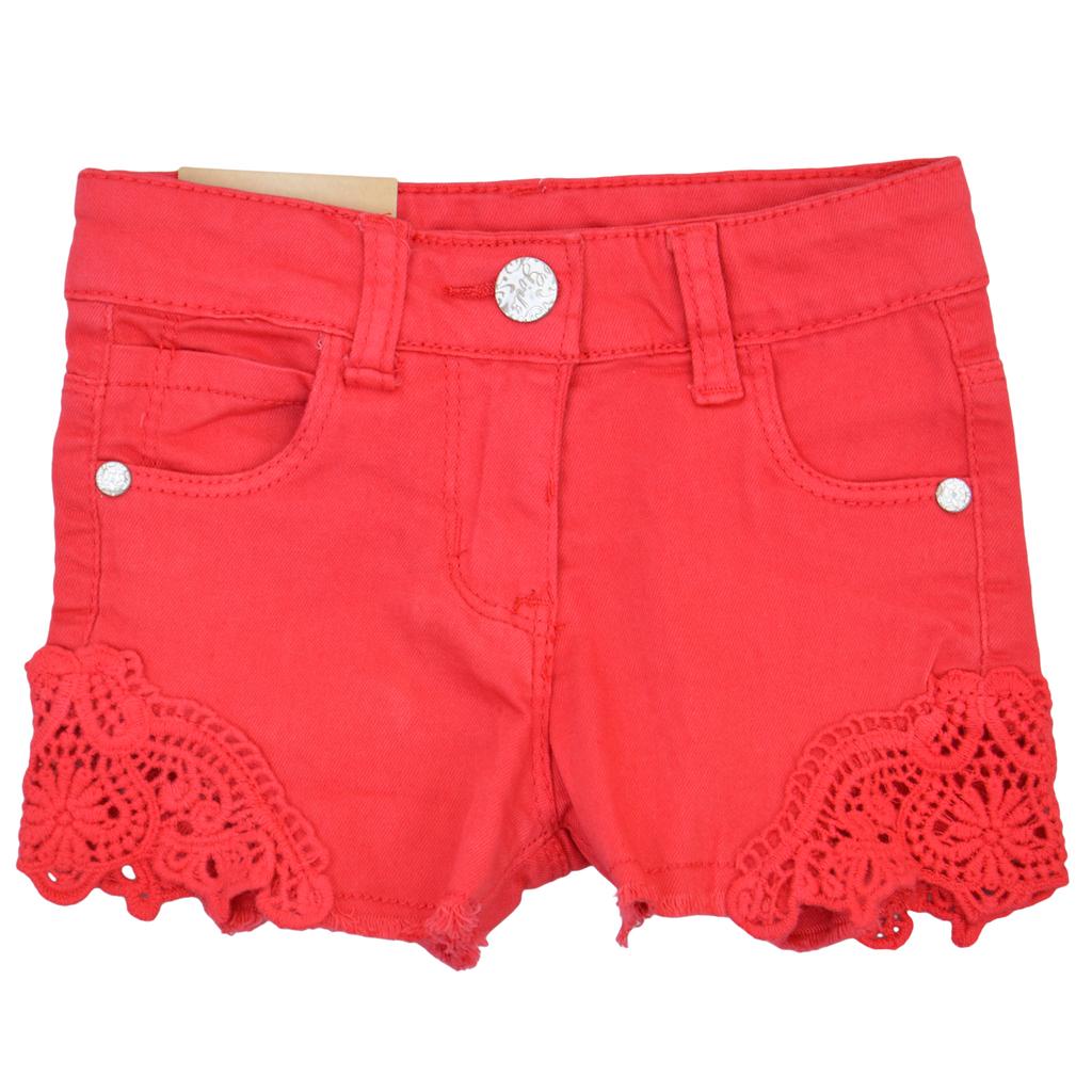 Детски къси панталони с дантела розови