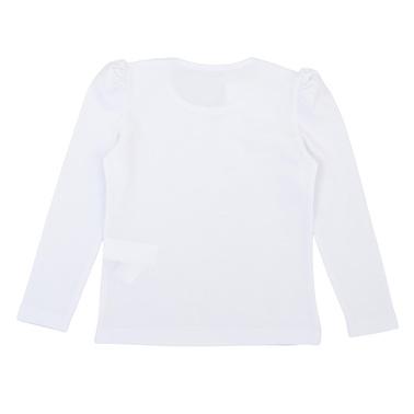 Детска блуза с панделка от пайети бяла