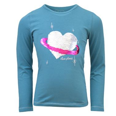 Блуза с планета-сърце от двуцветни пайети тъмен електрик