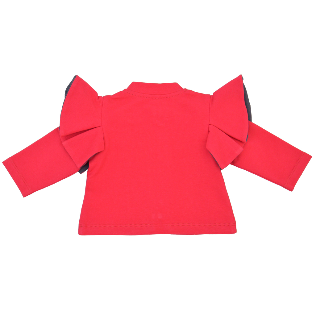 Бебешки суитшърт с къдри на раменете и бродерии розов