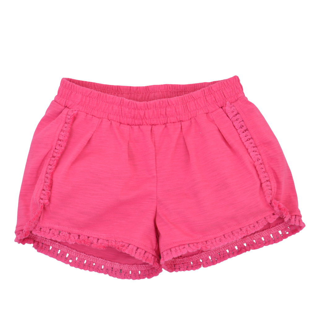 Трикотажен панталон къс крачол с пискюлчета циклама