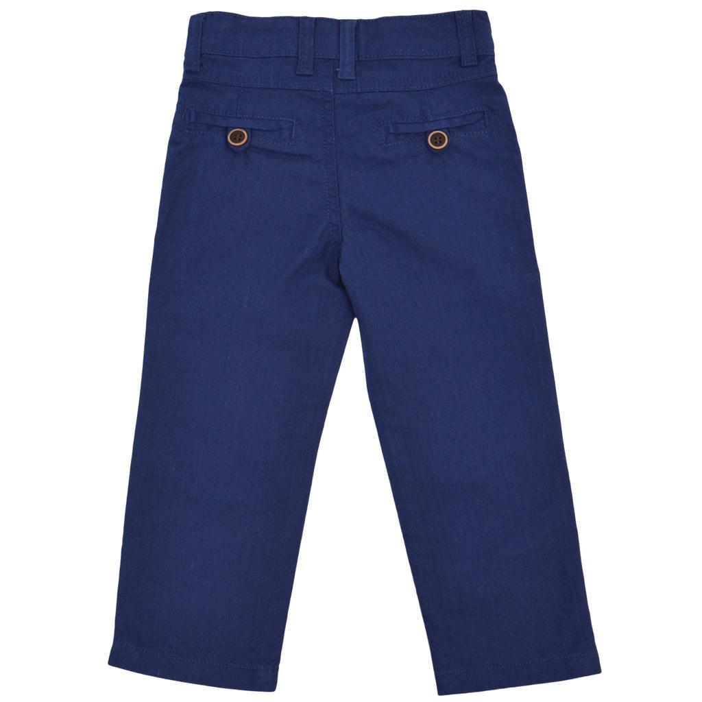 Детски цветен ленен панталон син