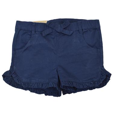 Къси панталонки от текстил с къдрички в тъмно синьо