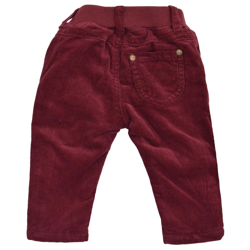 Бебешки джинси с подплата и ластик на талията бордо
