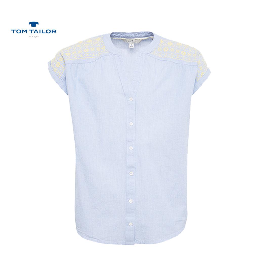 Риза къс ръкав с релефни орнаменти от Tom Tailor синя