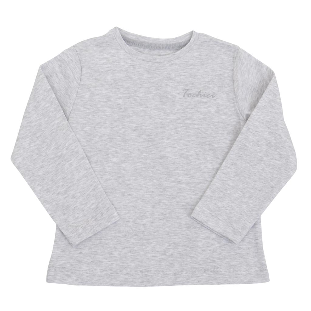 Детска рипсена блуза с лого ТОЧИЦИ сива