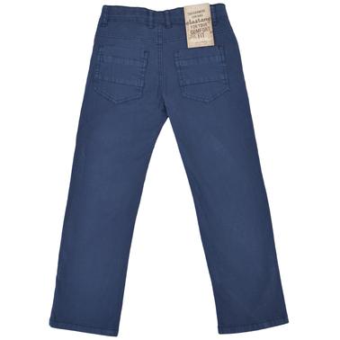Памучен панталон с прав крачол и джобове тъмно син