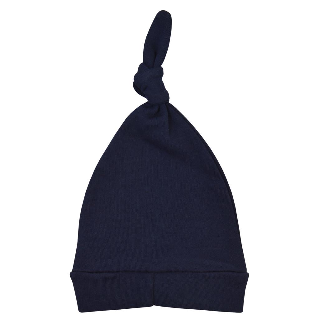 Памучна шапка с възел и щампа ''Hi'' тъмно синя