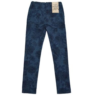 Детски панталон - слим с есенни цветя син